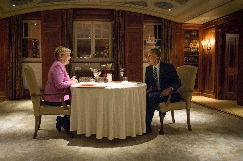 U.S. President Barack Obama and Chancellor Angela Merkel attend a private dinner at the famous Adlon hotel in Berlin