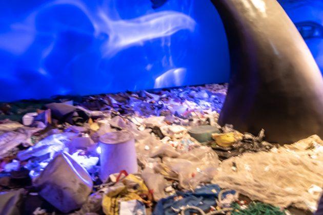 Plastikmüll, ein ernstes Problem. Hat aber nichts mit dem Klima zu tun. Alle hasteten desinteressiert durch den Raum, weshalb das Bild leider verwackelt ist.