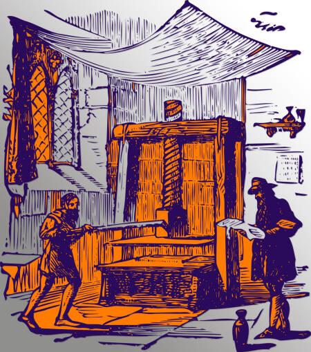 Alte Hand-Druckerpresse