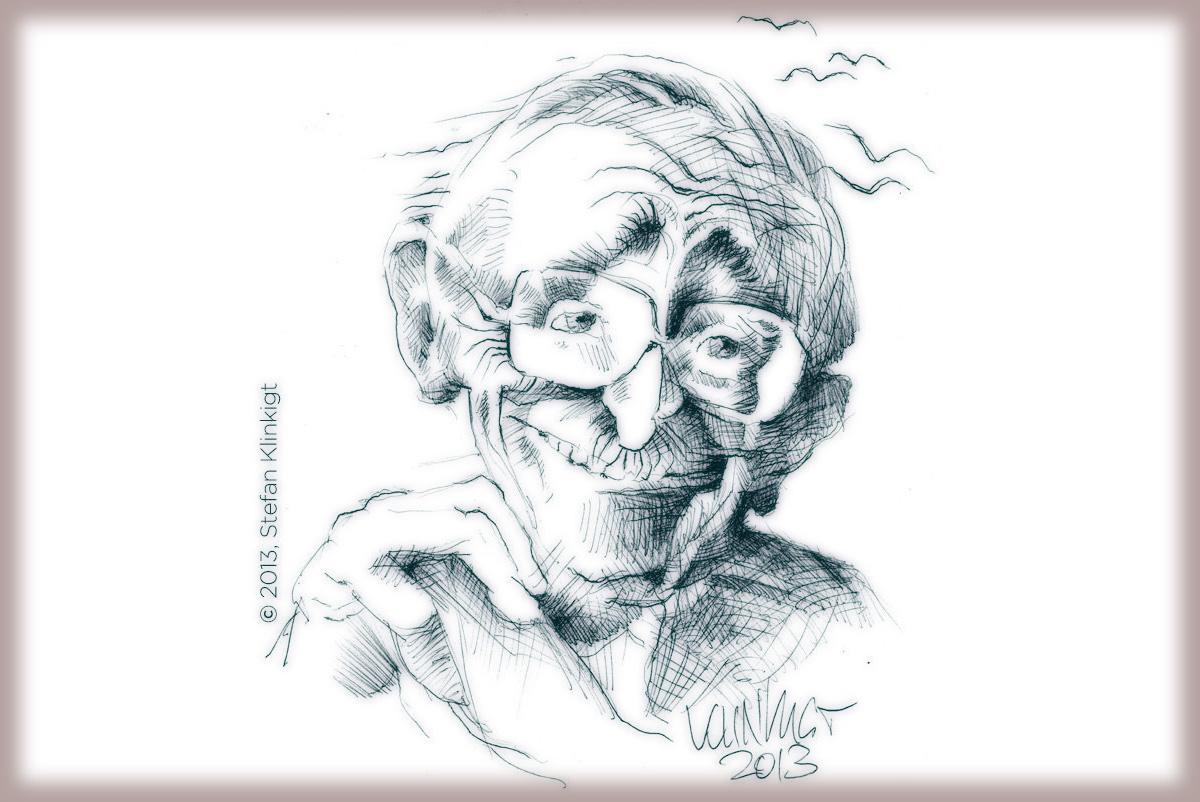 Friedrich August von Hayek, Zeichnung von Stefan Klinkigt
